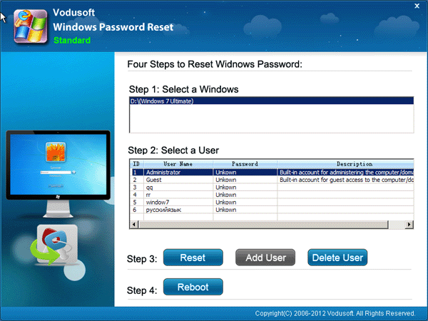 Windows vista password reset